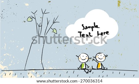 Kids sitting under a tree, in a park, friendship concept. Cute vector illustration, childhood style drawing, with copy space. Doodle, sketch.  - stock vector