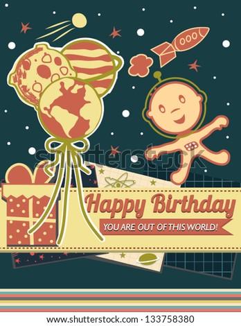 Kids Space Birthday Card - stock vector