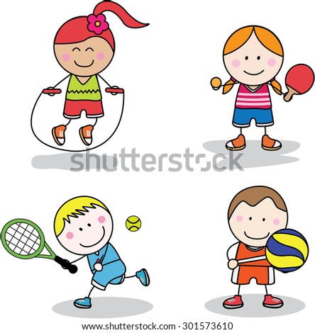 Kids sport collection - stock vector
