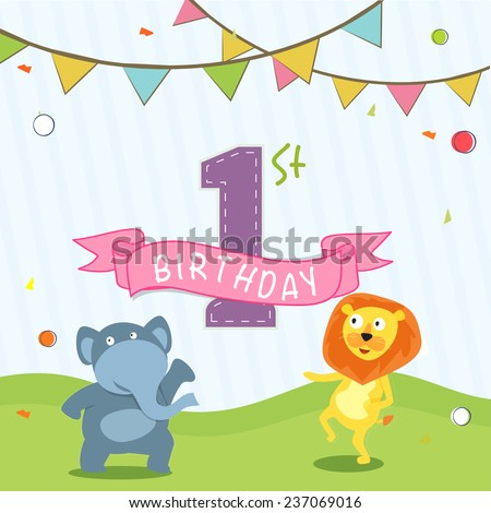 Kids 1st birthday celebration invitation card stock vector royalty kids 1st birthday celebration invitation card design with party flag and cartoon of animals stopboris Gallery