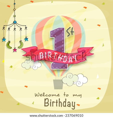 Kids 1st Birthday celebration Invitation card with mobile crib. - stock vector