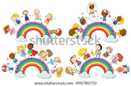 Kids standing on rainbow illustration