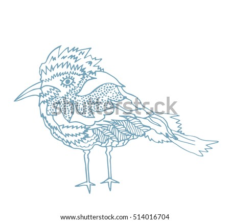 kids stylized bird. abstract bird.hand drawn illustration.winter doodle  bird.blue lines