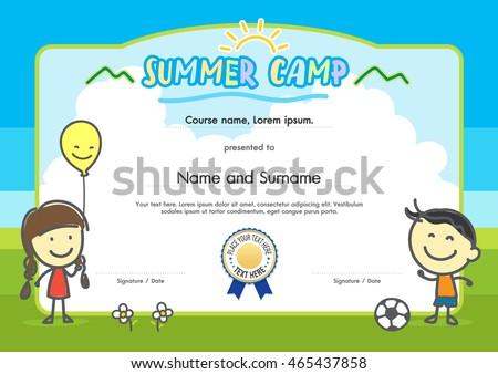 Kids Summer Camp Certificate Document Template Vector – Sample Certificates for Kids