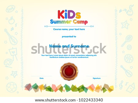 Kids summer camp diploma certificate template stock vector kids summer camp diploma or certificate template award seal with fun activities border yelopaper Image collections