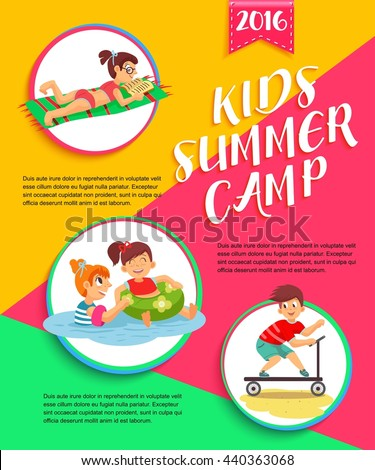 Kids summer camp poster. Children playing vector illustration. - stock vector