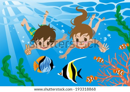 Kids Swimming Underwater Stock Fotos Billeder Til Fri