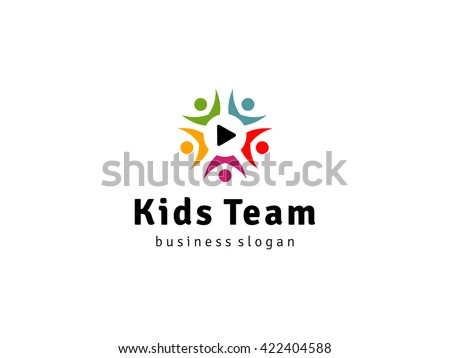 Kids Team Logo, Colorful Kids logo,Video Channel Logo emblem