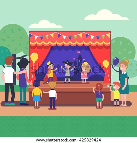 Kids theater performance show on scene with red curtains and fairy tale castle scenery. Public park theater festival for a group of people. Modern flat style vector illustration cartoon clipart. - stock vector