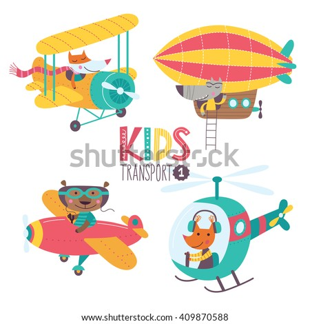 Kids transport collection with cute animals. Part 1. Vector illustration on a white background. Airplane, airship, plane, helicopter. - stock vector