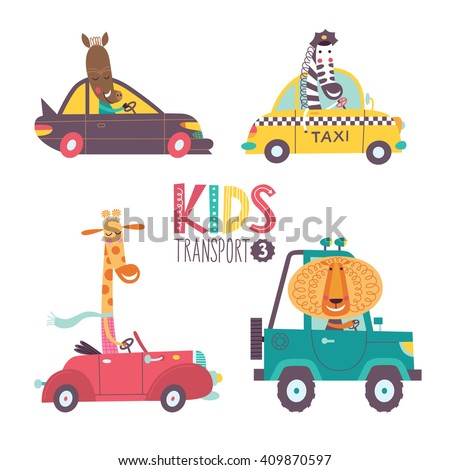 Kids transport collection with cute animals. Part 3. Vector illustration on a white background. Car, taxi, cabriolet