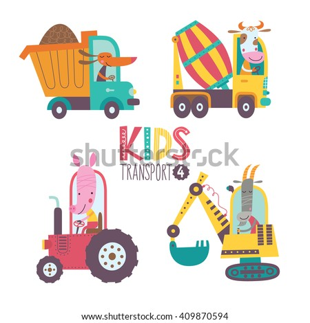 Kids transport collection with cute animals. Part 4.Vector illustration on a white background. Dump truck, concrete mixer, tractor, excavator, - stock vector