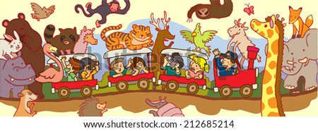 Kids travel through the wilderness safari by train, create by vector  - stock vector
