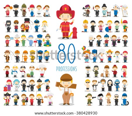 Kids Vector Characters Collection: Set of 80 different professions in cartoon style. - stock vector