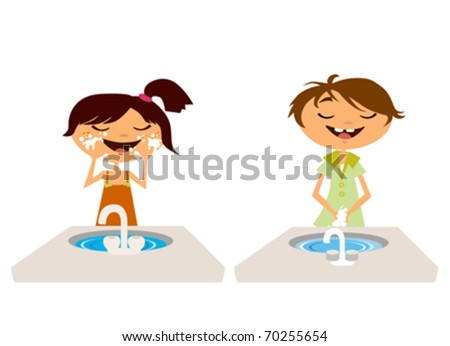 kids washing face and hand in bathroom - stock vector