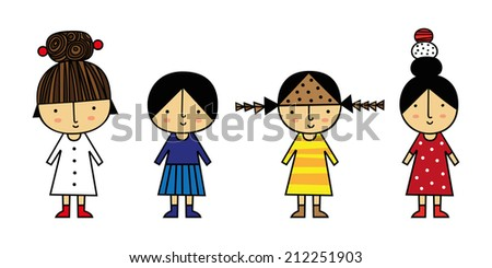 Kids wearing different costumes with funny hair styles, Vector illustration