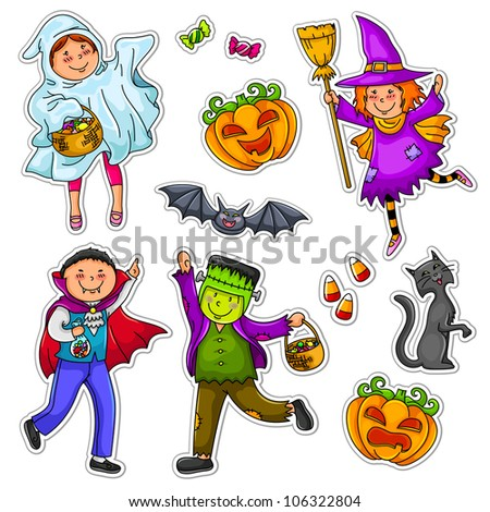 kids wearing Halloween costumes (jpeg version is available in my portfolio) - stock vector