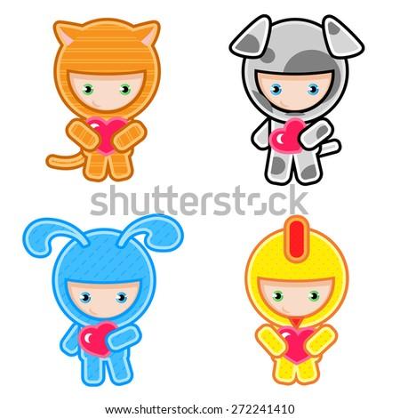 kids wearing masquerade. Chicken,  bunny, dog, cat. - stock vector
