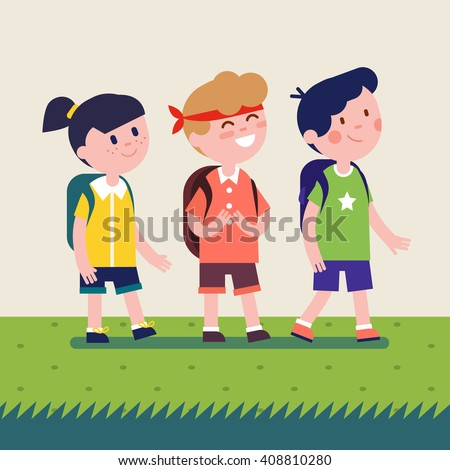 Kids with backpacks going on outdoor hiking trip. Girl and two boys walking together on summer adventure or expedition. Modern flat vector illustration clipart. - stock vector