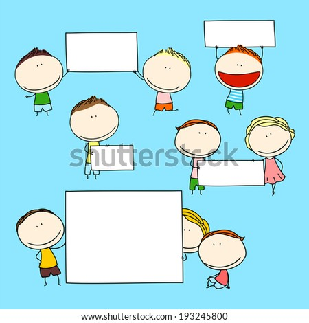 Kids with banners - stock vector