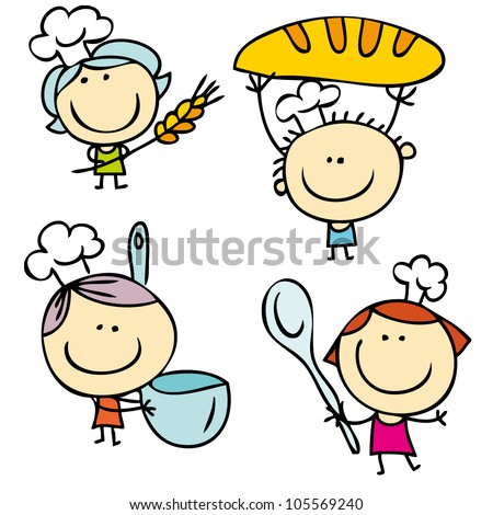 Kids With Food - stock vector