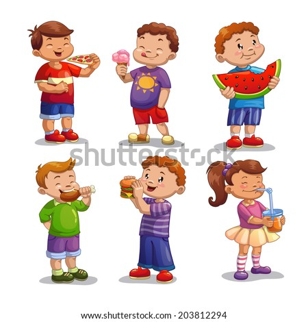 Kids with food and drink, isolated vector - stock vector