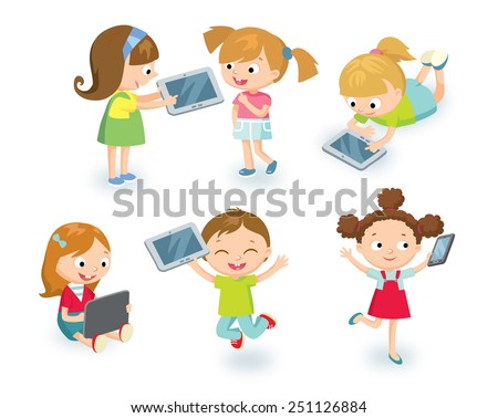 kids with gadgets - stock vector