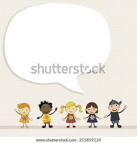 Kids with speech bubble  - stock vector