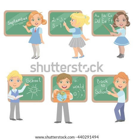 Kids Writing On Blackboard Set Of Simple Design Illustrations In Cute Fun Cartoon Style Isolated On White Background - stock vector