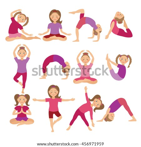 Kids Yoga Poses Vector Illustration