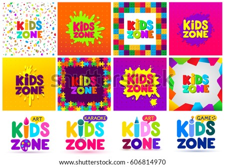 kids zone banner design big set children playground colorful logos vector illustration - Free Images Of Kids