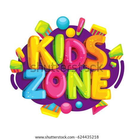 kids zone vector cartoon logo colorful bubble letters for childrens playroom decoration inscription on - Cartoon Pictures For Kids