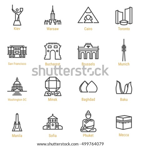 Kiev Warsaw Cairo Toronto San Francisco Stock Vector Royalty Free