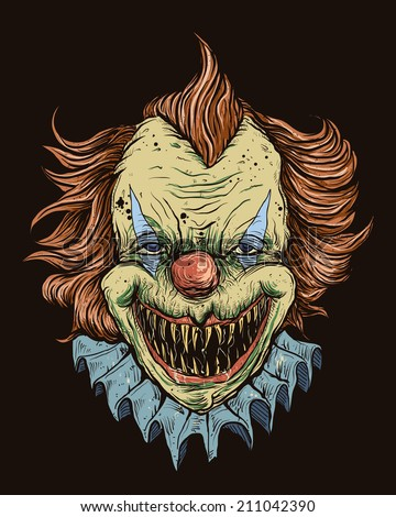 Killer Clown Head - stock vector
