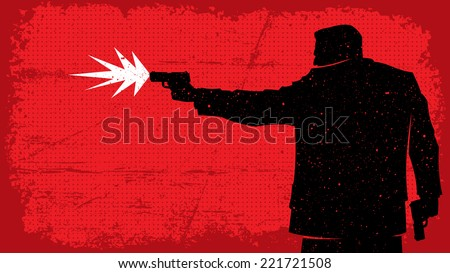 Killer: Illustration of man shooting with pistol. No transparency and gradients used. - stock vector