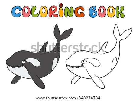Killer whale cartoon, part of the collection of marine life. Coloring book. - stock vector
