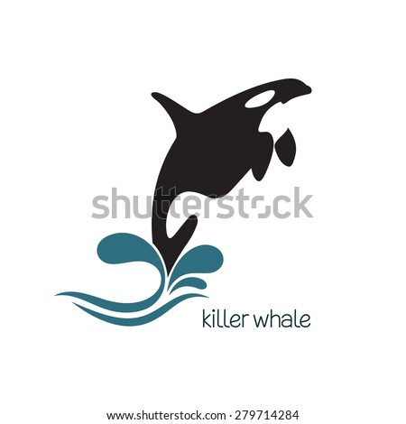 Killer whale jumping out of water - stock vector