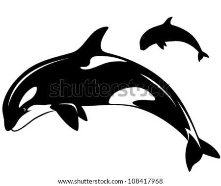 killer whale vector illustration - black and white outline and silhouette - stock vector