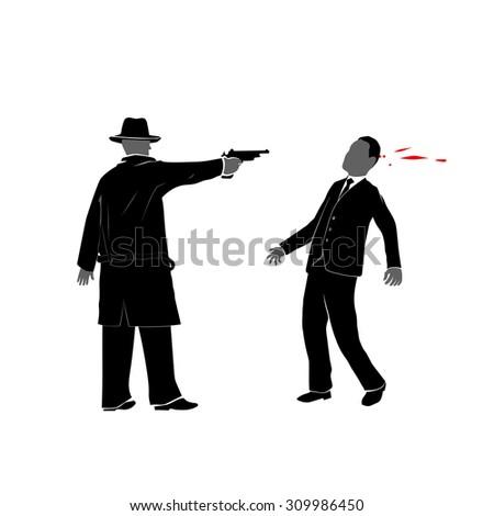 killing with gun - stock vector