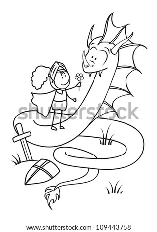 Kind Knight gives the Dragon a flower - the concept of pacifism - stock vector
