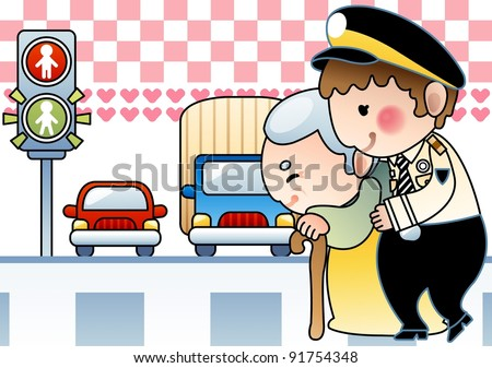 Kind Police Officer and Happy Old Woman with a smile - stock vector
