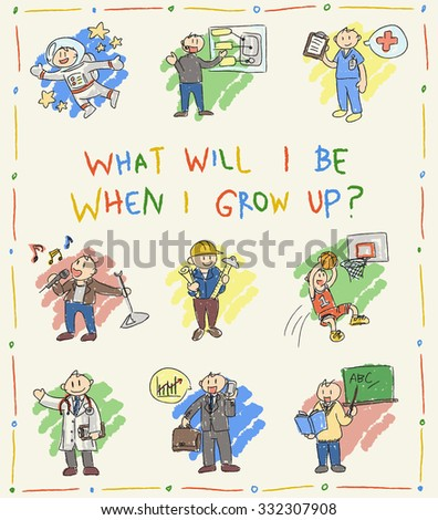 Kindergarten children color doodle drawing of cartoon character job professions which dream when grow up such as astronaut businessman doctor sportsman programmer engineer architect teacher icon set  - stock vector