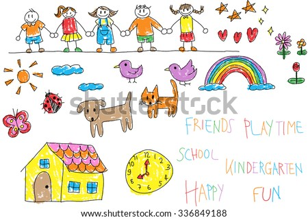 Kindergarten children doodle crayon drawing of a friend and kid environment such as animal pet house flower rainbow in happy cartoon character icon in isolated background with handwriting (vector)