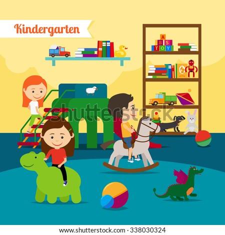 Kindergarten. Children playing in kinder garden. Vector illustration - stock vector
