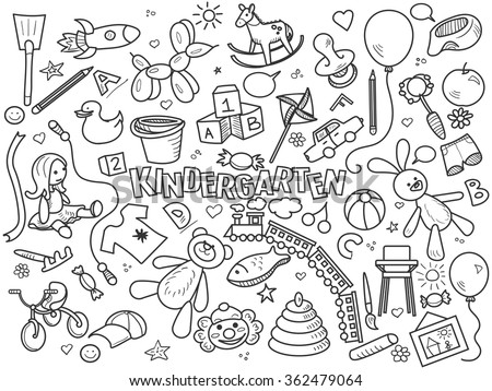 Kindergarten design colorless set vector illustration. Coloring book. Black and white line art - stock vector