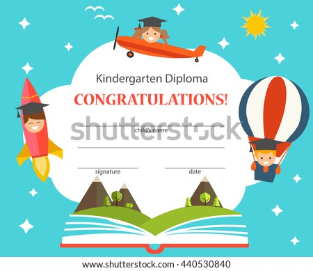 kindergarten diploma opened book children graduation stock vector