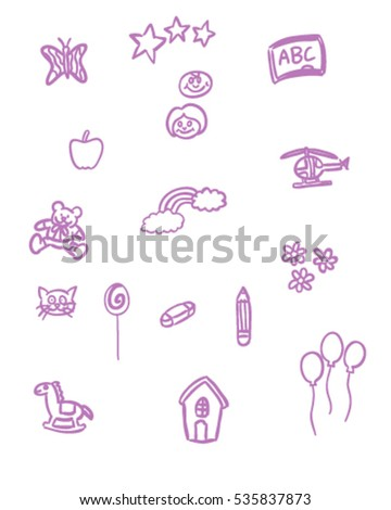 Kindergarten hand drawing doodle vector art