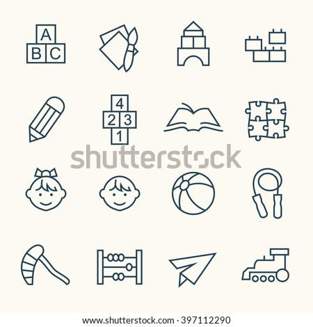 Kindergarten line icons - stock vector