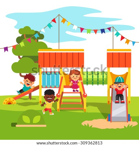 kindergarten outdoor park playground slide playing stock vector hd