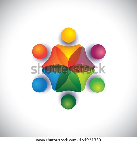 kindergarten pre school kids & children playing together. The vector graphic can also represent employees unity, workers union, executives meeting, friendship, team work & team spirit - stock vector